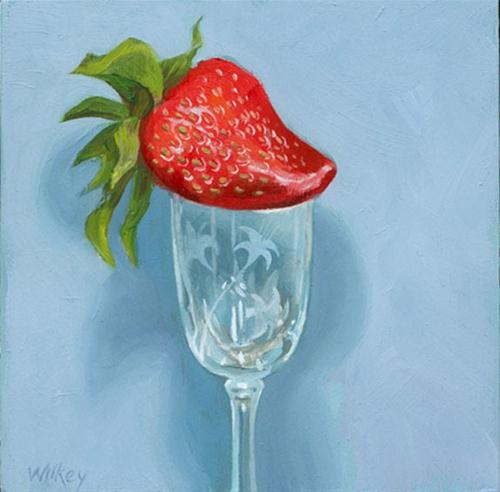 """Strawberry on crystal cup"" original fine art by Jean Wilkey"