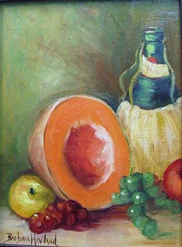 """Still Life Cantaloup,Apple,Grapes,Wine Bottle"" original fine art by Barbara Haviland"
