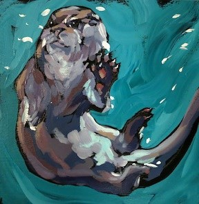 """Paws Up Otter"" original fine art by Kat Corrigan"