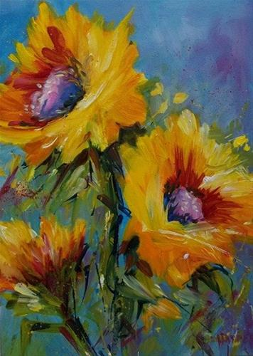 """""""Blue Skies Courting Sunflowers"""" original fine art by Alice Harpel"""