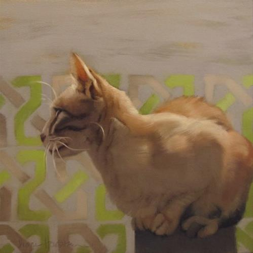 """Sheba the elegant cat, a painting"" original fine art by Diane Hoeptner"