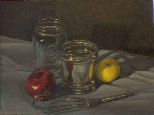 """Ball Jar and Pomegranate"" original fine art by Amy VanGaasbeck"