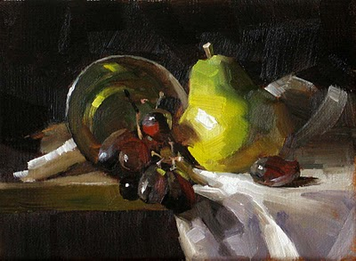 """Pear and Grapes --- Sold"" original fine art by Qiang Huang"