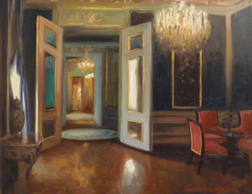 """Blue Room at the Albertina"" original fine art by Jonelle Summerfield"