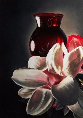 """Red Vase & Magnolia"" original fine art by Jacqueline Gnott, whs"
