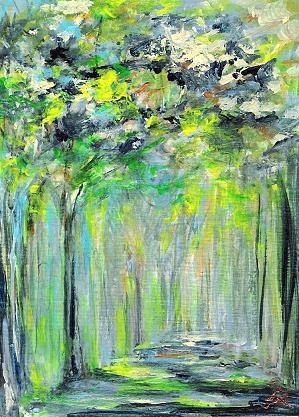 """3095 - FOREST LIGHT - ACEO DUO Series"" original fine art by Sea Dean"