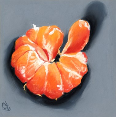 """peeled clementine orange painting"" original fine art by Ria Hills"