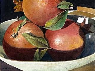 """""""Watercolor: Pomegranates from Arizona"""" original fine art by Belinda Del Pesco"""