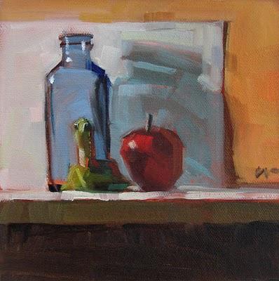 """""""Three on a Shelf --- n/a"""" original fine art by Carol Marine"""