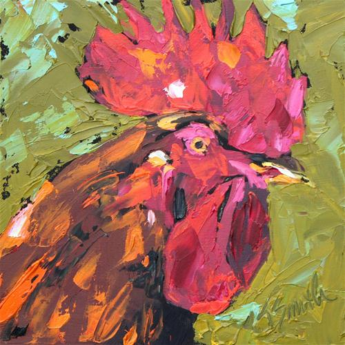 """rooster"" original fine art by Kim Smith"