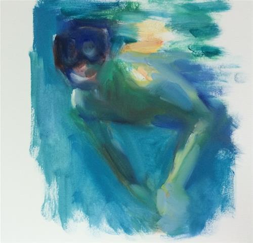 """Snorkeler"" original fine art by Sharon Savitz"