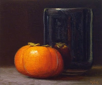 """Still Life with Persimmon and Tea Bowl"" original fine art by Abbey Ryan"