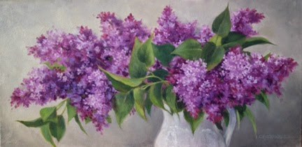 """'Loving Lilacs' An Original Oil Painting by Claire Beadon Carnell"" original fine art by Claire Beadon Carnell"