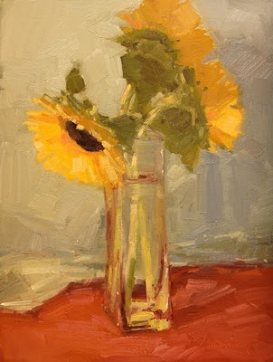 """Sunflowers In Water - Color"" original fine art by Laurel Daniel"
