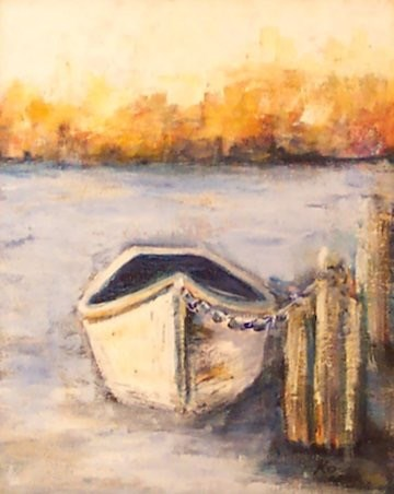 """MOORED DINGHY"" original fine art by Mary Ellen Koser"