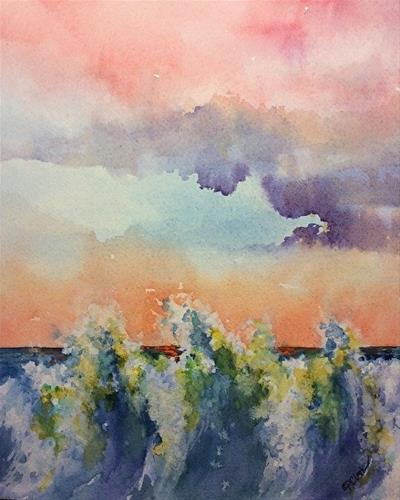 """Wave Study 14, 8 x 10, Watercolor, Seascape"" original fine art by Donna Pierce-Clark"