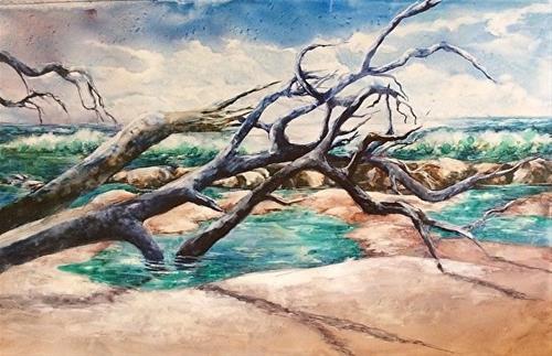 """Barrier Isle, 20 x 32 Watercolor, Seascape"" original fine art by Donna Pierce-Clark"