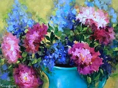 """Blue Delphiniums and Peonies - Flower Paintings by Nancy Medina"" original fine art by Nancy Medina"