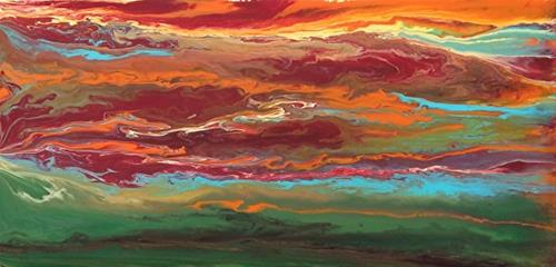 """Abstract Landscape,Sunset Art Painting Sky In Motion Reflected -Red-Mini #2 by Colorado Contempora"" original fine art by Kimberly Conrad"