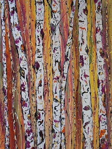 """""""Contemporary Abstract Aspen Tree PaintingSpring Reflections in the Forest by Colorado Contemporary"""" original fine art by Kimberly Conrad"""