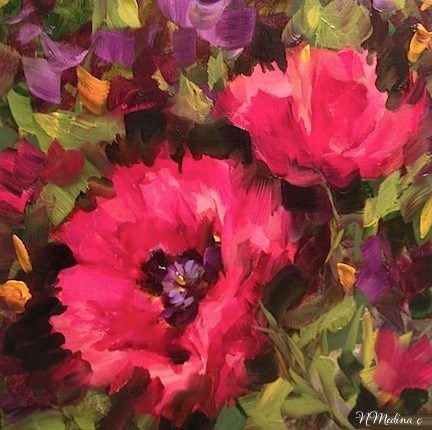 """Into the Air Pink Poppies and $400 Worth of Paint by Flower Artist Nancy Medina"" original fine art by Nancy Medina"