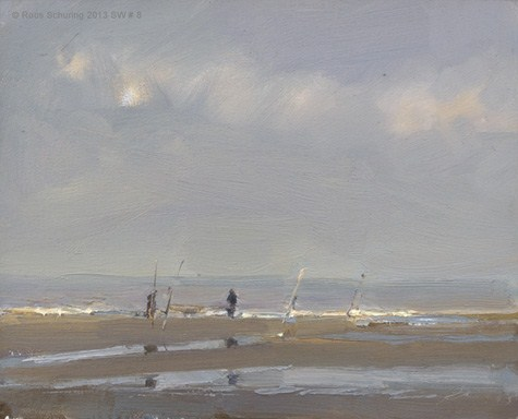 """Seascape winter 8 Distant fisherman and morning light (Zeegezicht) (available)"" original fine art by Roos Schuring"