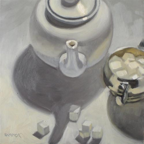 """Tea with sugar 6x6 oil"" original fine art by Claudia Hammer"