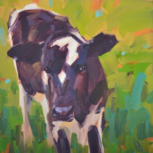 """Cautious Cow"" original fine art by Carol Marine"
