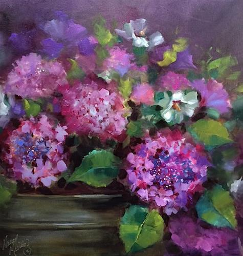 """Lace Cap Hydrangeas and a Lees Summit Workshop"" original fine art by Nancy Medina"