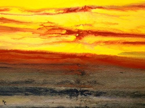 """Original Contemporary Abstract Landscape Sunset Paintings  Golden Hour Upon Us IV by Colorado Cont"" original fine art by Kimberly Conrad"