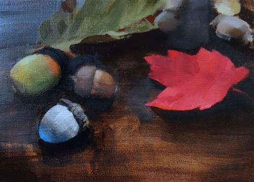 """Acorns and Fall Leaves (no.144)"" original fine art by Michael William"