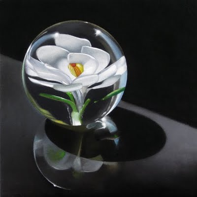 """White Flower Paperweight 6x6"" original fine art by M Collier"