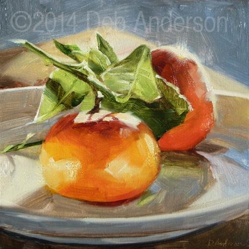 """Two Mandarin Oranges"" original fine art by Deb Anderson"