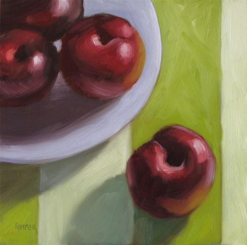 """Plump plums 6x6 oil on panel"" original fine art by Claudia Hammer"