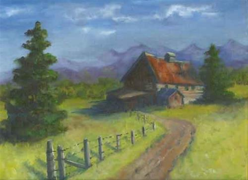 """Uncle George's Barn"" original fine art by Kara Butler English"