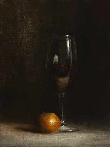 """Glass of Red"" original fine art by Neil Carroll"