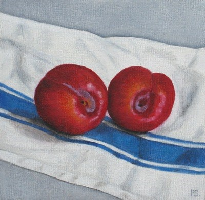 """Red Plums on french tea cloth"" original fine art by Pera Schillings"