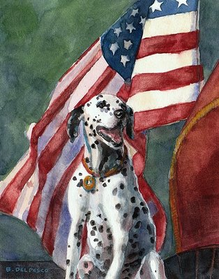 """Watercolor: Firehouse Dog"" original fine art by Belinda Del Pesco"