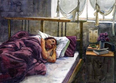 """Watercolor: Saturday Morning Sleep-in"" original fine art by Belinda Del Pesco"