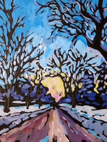 """Parkway Evening Drive, Winter"" original fine art by Kat Corrigan"