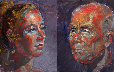 """A Couple of Head Studies"" original fine art by Raymond Logan"