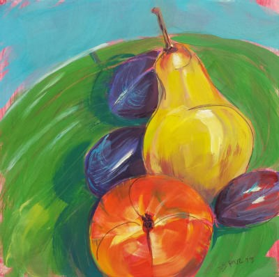 """Pear Plums Peach"" original fine art by Pam Van Londen"