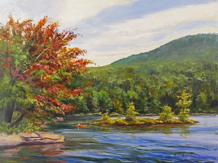 """North Lake in Autumn with a Kayak"" original fine art by Jamie Williams Grossman"