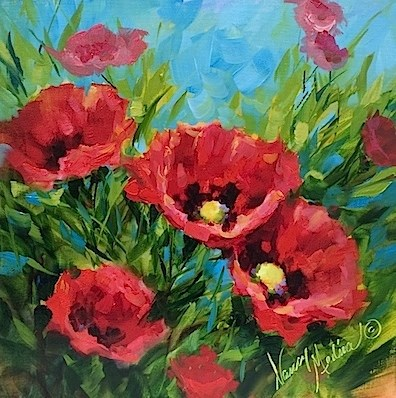 """A New Poppy Video - Flower Paintings by Nancy Medina"" original fine art by Nancy Medina"