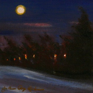 """Moonlight in Suburbia"" original fine art by JoAnne Perez Robinson"