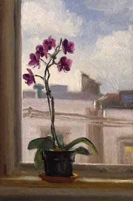 """Orchids on a Sill, Morning"" original fine art by Abbey Ryan"