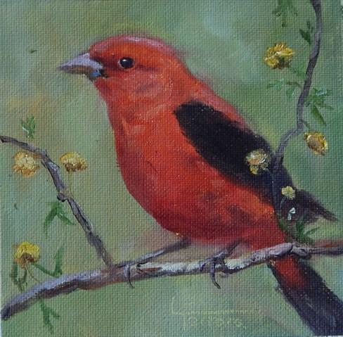 """Scarlet tanenger"" original fine art by Lina Ferrara"