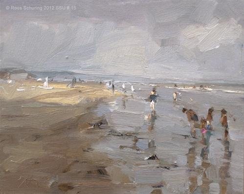 """Seascape summer # 15 Painting grey / A touch of sun and children playing"" original fine art by Roos Schuring"