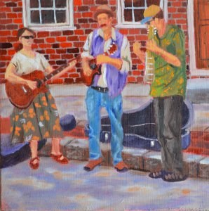"""Street Performers"" original fine art by Robert Frankis"