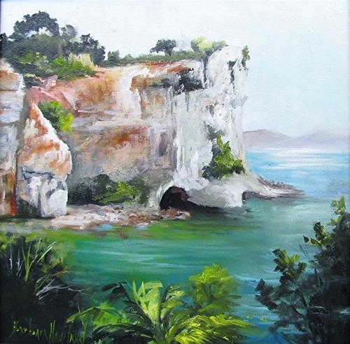 """Cathedral Cove New Zealand Barbara Haviland Texas Landscape Artist"" original fine art by Barbara Haviland"